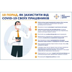 Табличка / наклейка (Covid-19) Как защитить работников (300х200мм)