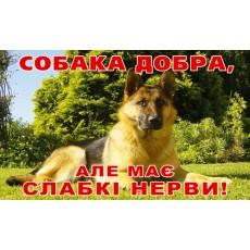 Табличка собака добра, але має слабкі нерви (250х150мм)