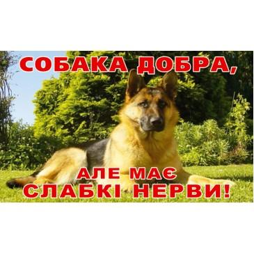 Табличка собака добрая, но имеет слабые нервы (250х150мм)